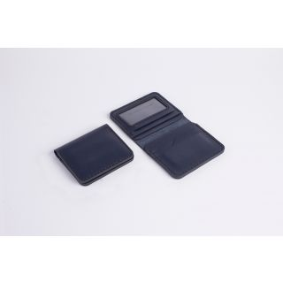 Handmade natural leather Light card holder (dark blue)-511