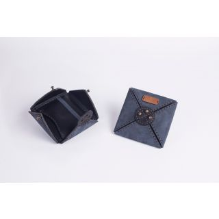 Handmade natural leather New wallet  (dark blue)-509