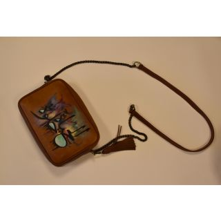 Natural leather cross  bag with Handmade painting