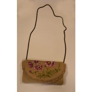 Cross bag made from burlap with Handmade painting