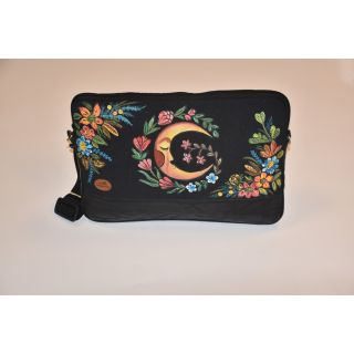 Laptop bag made from fabric and leather with handmade painting