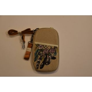 Cross bag for passport made from fabric with handmade painting