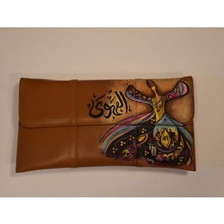Clutch and cross bag made from natural leather with handmade painting-1668