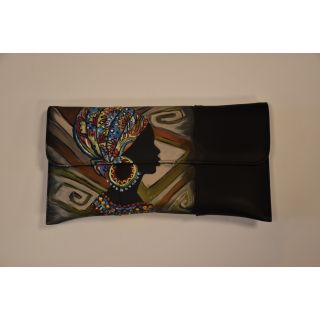 Clutch and cross bag made from natural leather with handmade painting-1670