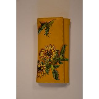Natural leather female wallet with handmade painting -1674
