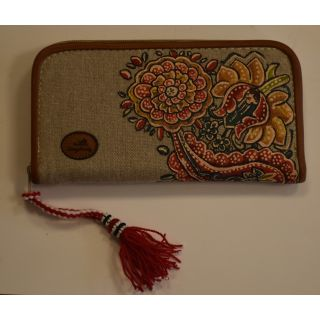 Handmade painted wallets made from fabric and natural leather