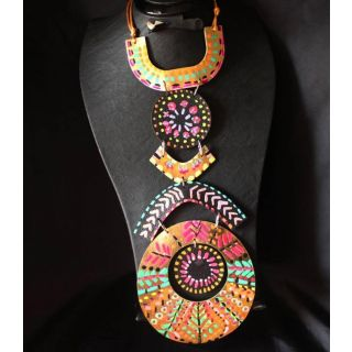 Kerdan paint Necklace made from natural leather-2011