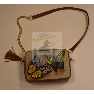 Cross bag made from fabric and leather with Handmade painting