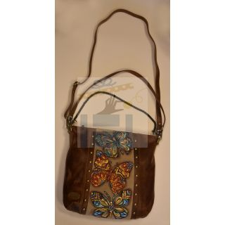 Natural leather cross and hand bag with Handmade painting