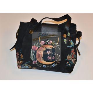 Natural leather hand bag with Handmade painting