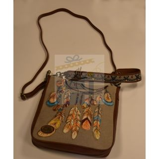 Cross and hand bag made from fabric and natural leather with Handmade painting