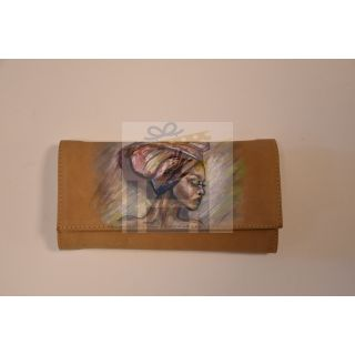 Natural leather female wallet with handmade painting -1673