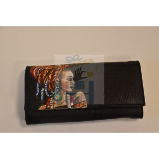 Natural leather female wallet with handmade painting -1675