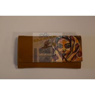 Natural leather female wallet with handmade painting -1676