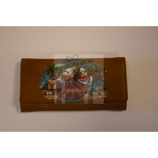 Natural leather female wallet with handmade painting -1677