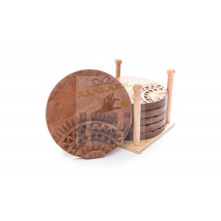 Hand Carved round coaster inspired by islamic pattern -set of 6 coasters-